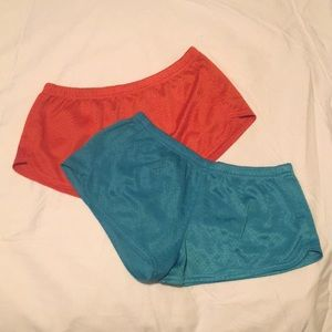Two Pairs Soffe Shorts Mesh Orange Blue Lot
